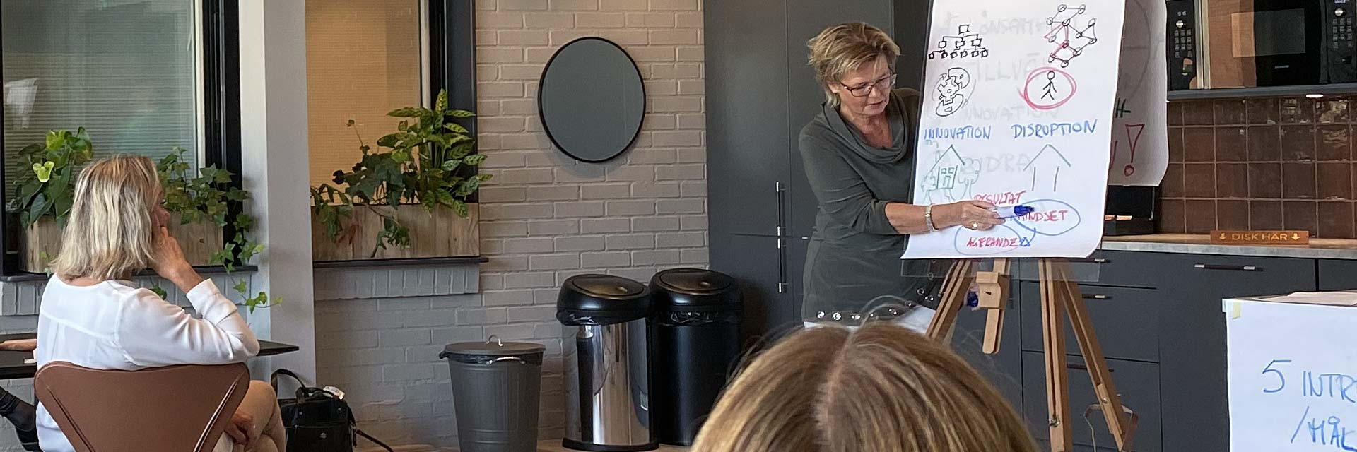 Business coach säljcoach ledarskapscoach Hanna Plymouth vid blädderblock med sittande åhörare på workshop