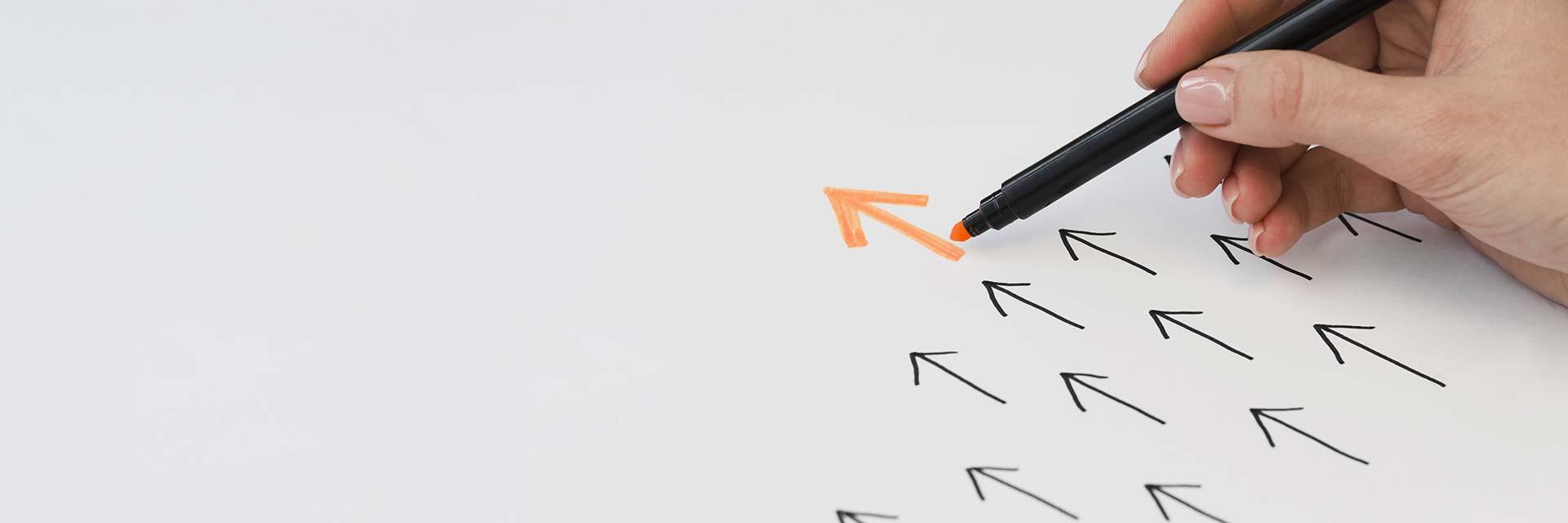 certifierad styrelseledamot i styrelse och CSR/styrelse Hanna Plymouth illustrerat av pilar uppåt framåt