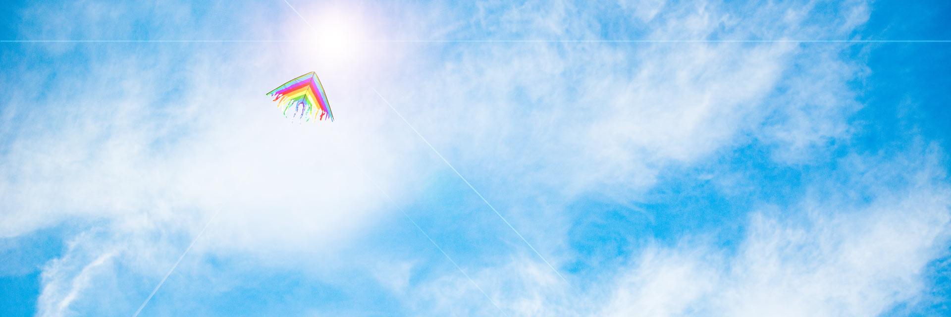 Vision passion mission för H Plymouth Utveckling illustrerat av regnbågsfärgad drake mot blå himmel