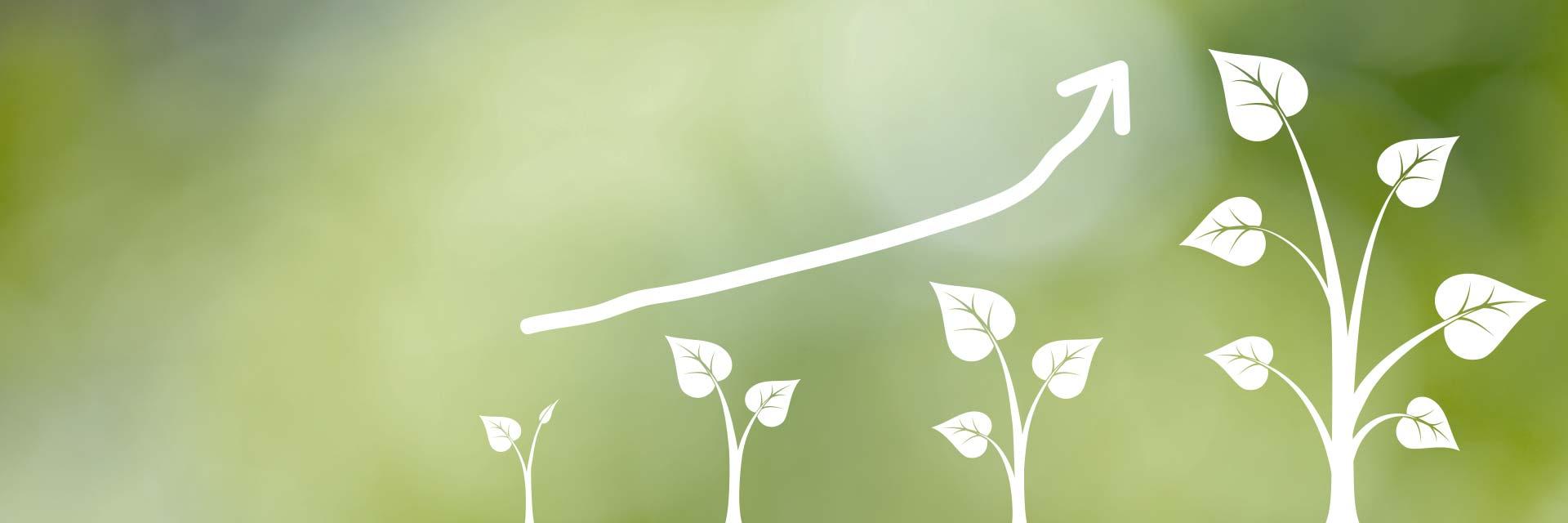 workshops för att öka försäljning illustrerad av växande träd med pil för tillväxt och lönsamhet